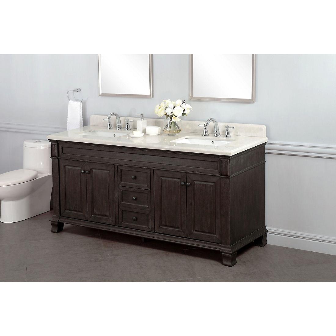 Lanza Kingsley 72 Double Sink Bathroom Vanity Distressed Dark Chocolate