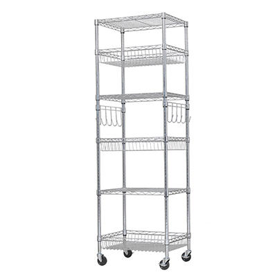"Berkley Jensen 24"" 6-Shelf Steel Rack - Chrome"