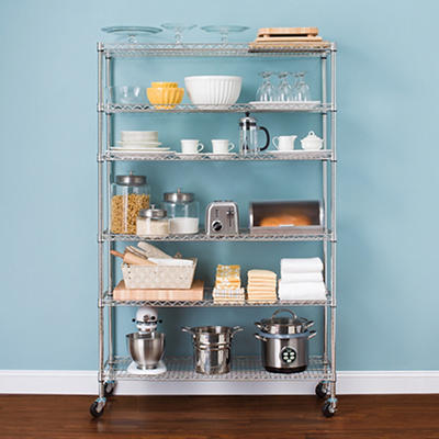 "Berkley Jensen 48"" 6-Shelf Steel Rack - Chrome"