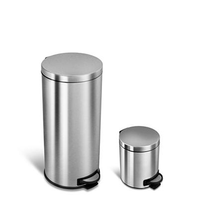 Nine Stars 7.9-Gal. and 1.3-Gal. Step-On Trash Can Combo Pack