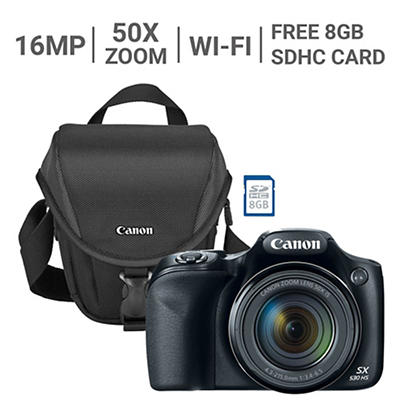 Canon PowerShot SX530 16MP CMOS 50x Zoom Wi-Fi Camera with 8GB SDHC and Case