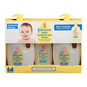 Johnson's Head-to-Toe Gentle Baby Wash, 2 pk./33.8 fl. oz. with Bonus 9 fl. oz. Bottle