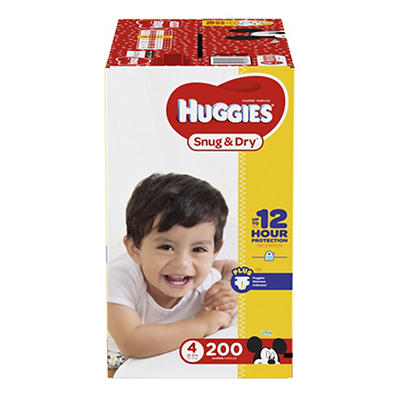 Huggies Snug & Dry Size 4 Diapers, 200 ct.