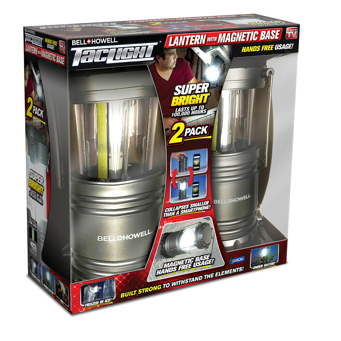 Bell + Howell TacLight Lantern with Magnetic Base, 2 pk