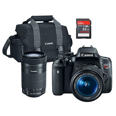 Canon EOS Rebel T6i 24.2MP CMOS DSLR, 18-55mm Lens, 55-250mm Lens, 32G