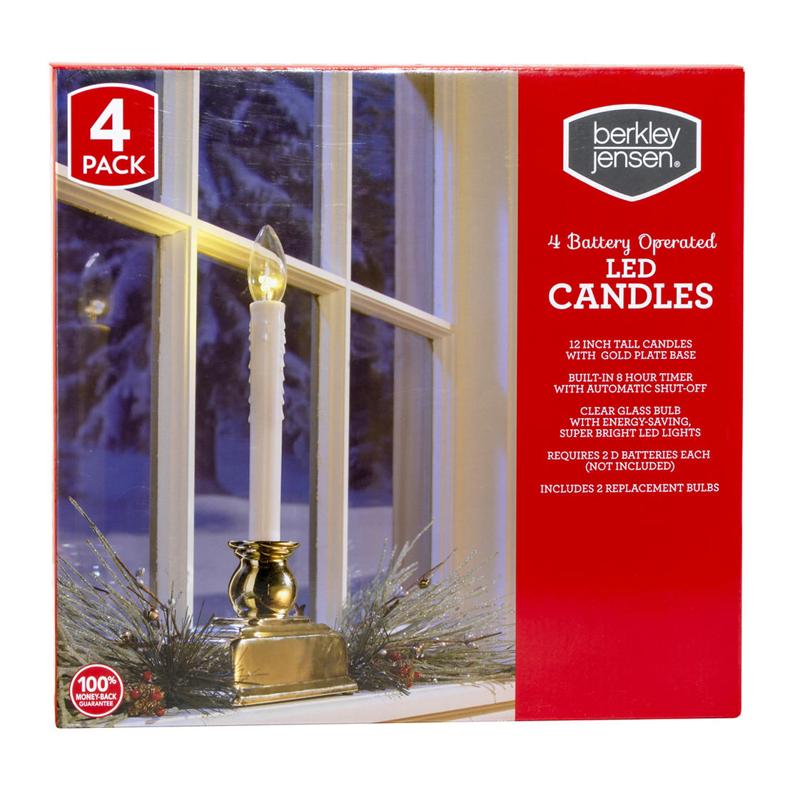 Christmas Window Candles.Berkley Jensen Led Window Candles 4 Pk