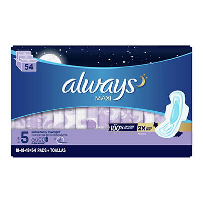 Always Extra-Heavy Overnight Maxi Pads with Flexi-Wings, 54 ct.