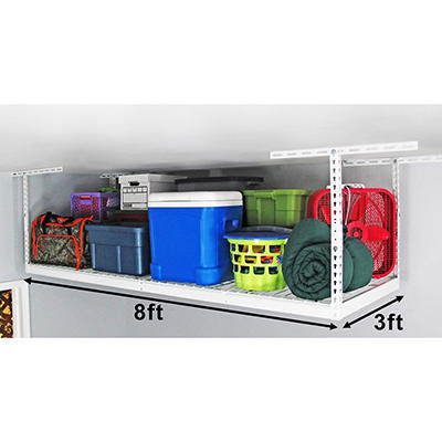 "SafeRacks 3' x 8' Overhead Storage Rack, 24""-45"" Ceiling Drop"