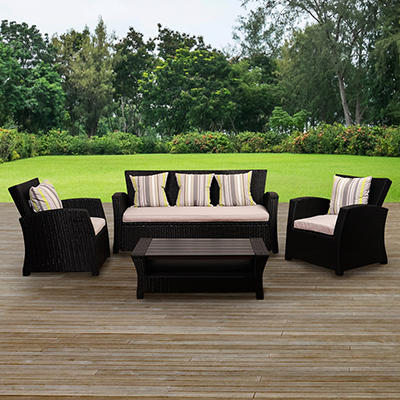 Atlantic San Antonio 4-Pc. Wicker Set - Black
