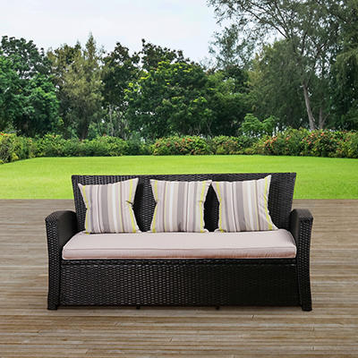 Atlantic San Antonio Wicker Patio Sofa - Black/Light Gray