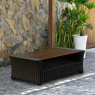 Atlantic San Antonio Wicker Patio Coffee Table - Black