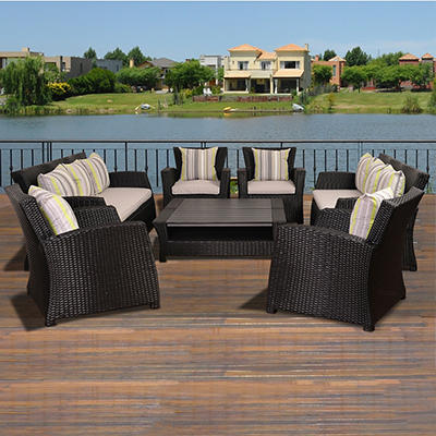 Atlantic San Antonio 8-Pc. Wicker Set - Black