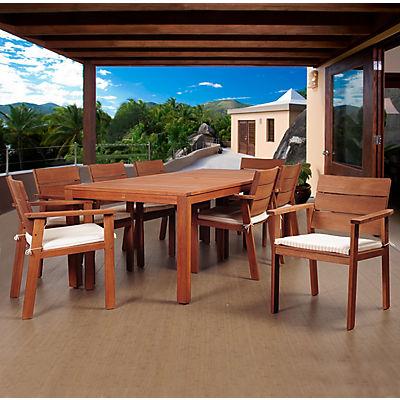 Amazonia Santiago 9-Pc. Eucalyptus Dining Set - Brown/Off-White/Beige