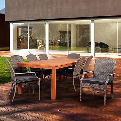 Amazonia Monark 9-Pc. Eucalyptus Dining Set - Brown/Gray/Off-White
