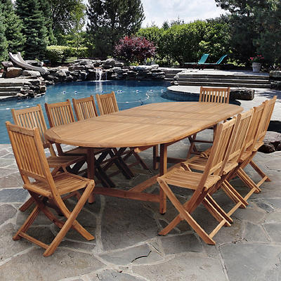 Amazonia Coconut 11-Pc. Teak Oval Outdoor Dining Set - Natural