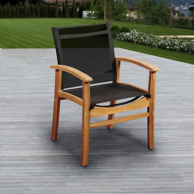 Amazonia Fortune Sling Teak Patio Dining Chair - Black/Brown