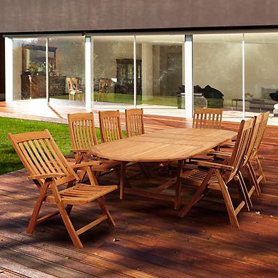Amazonia Crane 9-Pc. Teak Outdoor Dining Set - Brown
