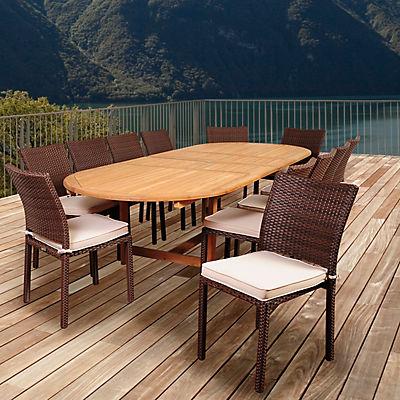 Amazonia Goliath 13-Pc. Teak Oval Dining Set - Brown/Off-White