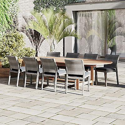 Amazonia Western 9-Pc. Teak Dining Set - Brown/Gray