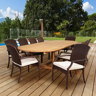 Amazonia Hare 11-Pc. Teak/Wicker Dining Set - Brown/Off-White