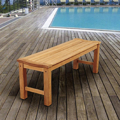 Amazonia Johnson Backless Teak Patio Bench - Brown