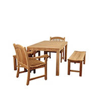 Amazonia Marshall 5-Pc. Teak Dining Set - Brown