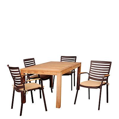 Amazonia Cliff 5-Pc. Teak Outdoor Dining Set - Natural/Tan