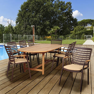 Amazonia Cliff 9-Pc. Teak Oval Outdoor Dining Set - Brown/Tan