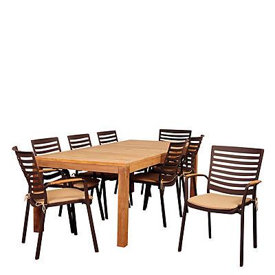 Amazonia Cliff 9-Pc. Teak Outdoor Dining Set - Brown/Tan