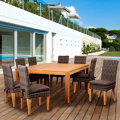 Amazonia Griffon 9-Pc. Teak/Wicker Dining Set - Brown/Distressed Gray