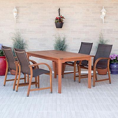 Amazonia Indiana 5-Pc. Rectangular Eucalyptus Outdoor Dining Set - Bro