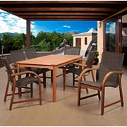 Amazonia Indiana 7-Pc. Eucalyptus Outdoor Dining Set - Brown