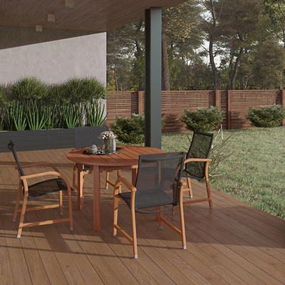 Amazonia Indiana 5-Pc. Round Eucalyptus Outdoor Dining Set - Brown