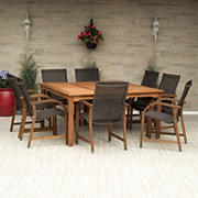 Amazonia Indiana 9-Pc. Square Eucalyptus Outdoor Dining Set - Brown