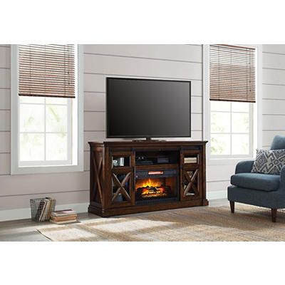 Allstead Barn Door Fireplace Tv Stand Console Bjs Wholesale Club