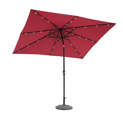 Sun-Ray 9'x7' 8-Rib Solar Light Umbrella - Scarlet