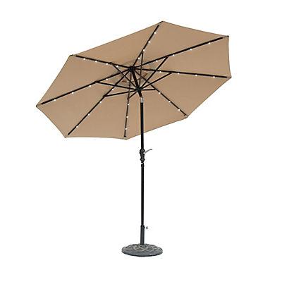 Sun-Ray 9' 8-Rib Solar Light Umbrella - Taupe