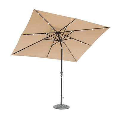 Sun-Ray 9'x7' 8-Rib Solar Light Umbrella - Taupe