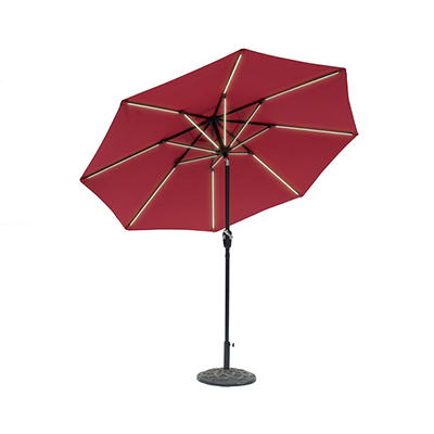 Sun-Ray 9' 8-Rib Next Gen Solar Light Umbrella - Scarlet