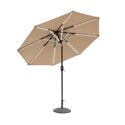 Sun-Ray 9' 8-Rib Next Gen Solar Light Umbrella - Taupe