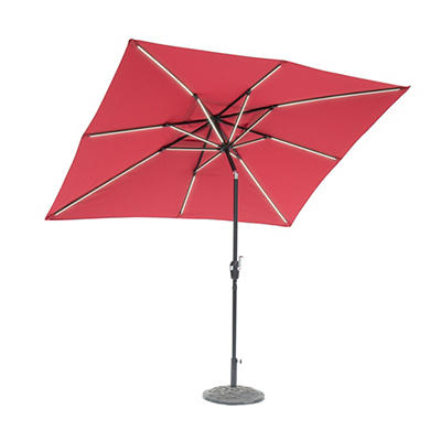 Sun-Ray 9'x7' 8-Rib Next Gen Solar Light Umbrella - Scarlet