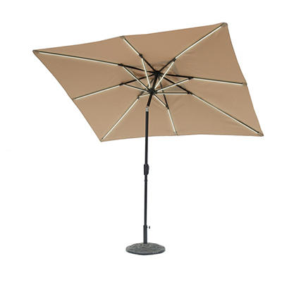 Sun-Ray 9'x7' 8-Rib Next Gen Solar Light Umbrella- Taupe