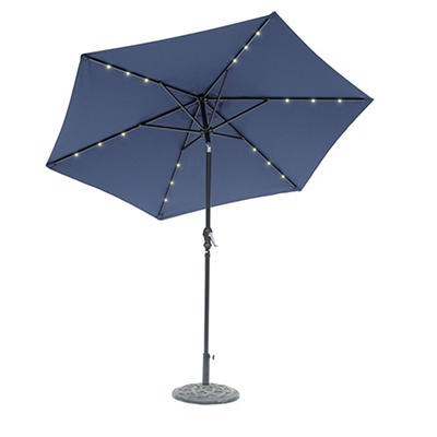Sun-Ray 9' 6-Rib Solar Light Umbrella - Navy