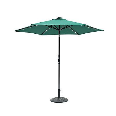 Sun-Ray 9' 6-Rib Solar Light Umbrella - Hunter Green