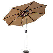 Sun-Ray 9' 8-Rib Solar Light Umbrella with Bluetooth Speaker - Taupe