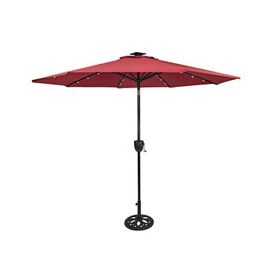 Sun-Ray 9' 8-Rib Solar Light Umbrella with Bluetooth Speaker - Scarlet