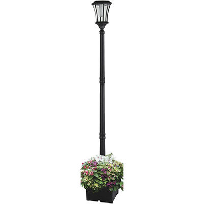 Sun-Ray Abigail Solar Lamp Post and Planter - Black