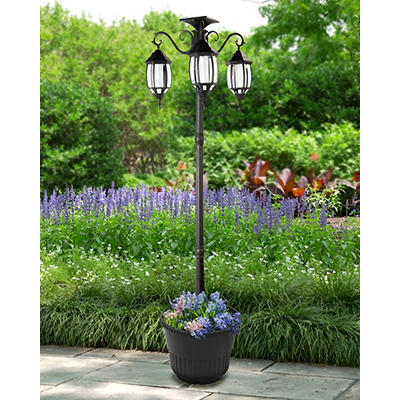 Sun-Ray Madison 3-Head Solar Lamp Post and Planter - Black