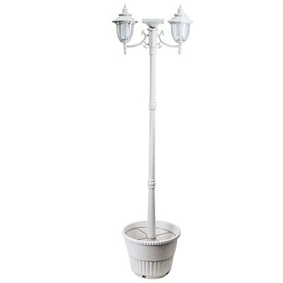 Sun-Ray Hannah 2-Head Solar Lamp Post  - White