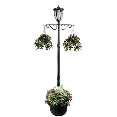 Sun-Ray Kenwick Solar Lamp Post and Planter - Bronze